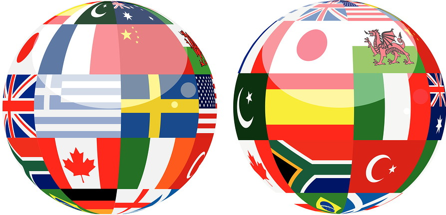 globes with world flags