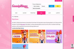 gossip bingo website screenshot