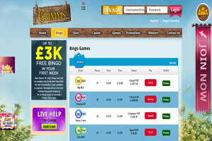 grimms bingo website screenshot