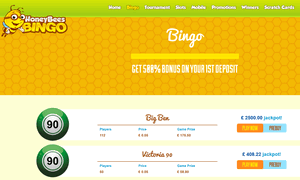 Honey Bees Bingo website homepage