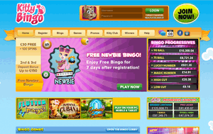 Kitty Bingo website homepage