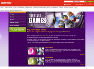 Ladbrokes Bingo website homepage screenshot