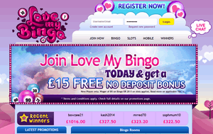 Love My Bingo website homepage