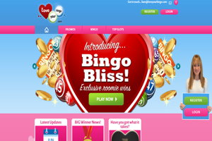 love your bingo homepage screenshot