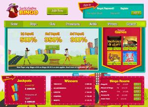 Lucky Ladies Bingo website homepage