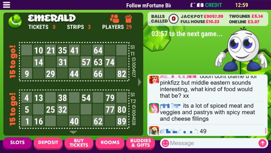 mFortune bingo screengrab