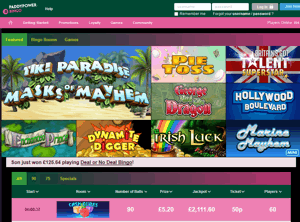 Paddy Power website homepage screenshot