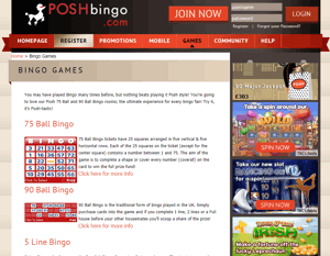 posh bingo screenshot