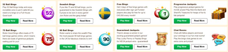robin hood bingo games