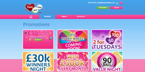 Love Your Bingo promotional page screenshot
