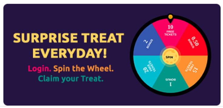 Play2win bonus wheel screenshot