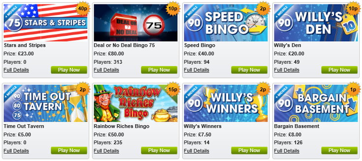 William Hill Bingo games screenshot