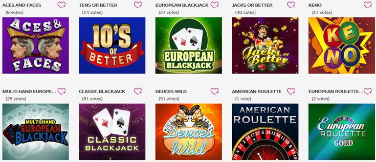 Wow Bingo casino games screenshot