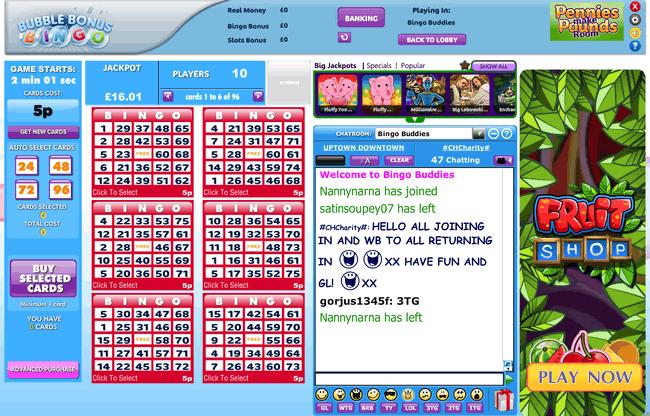 Bubble Bonus Bingo 75 ball example