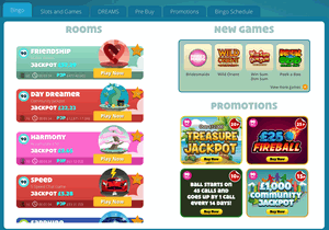 Dream Bingo example of a microgaming bingo site