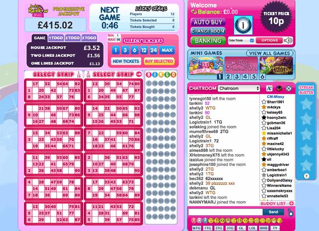 Lucky Rainbow Bingo 90 ball example