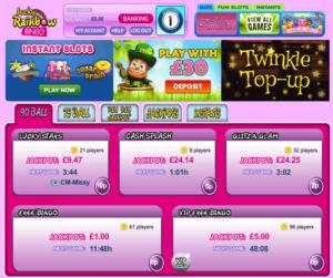 Lucky Rainbow Bingo example of a jumpman site