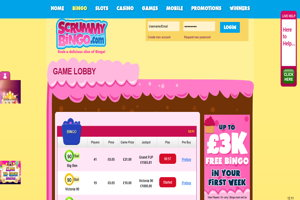 scrummy bingo homepage screenshot