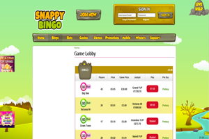 snappy bingo website screenshot