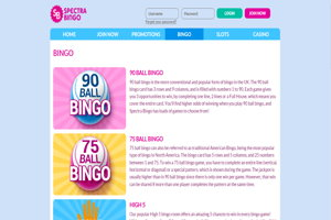 spectra bingo website screenshot