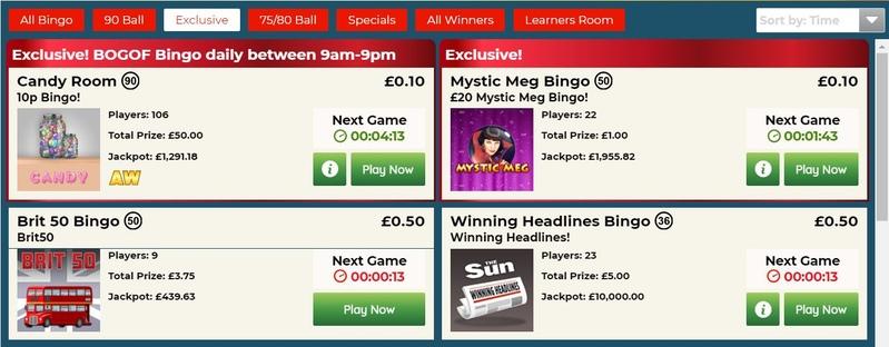 Sun Bingo Games