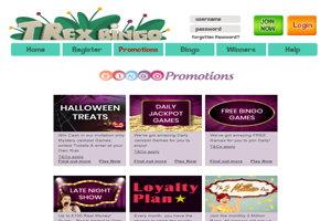 t rex bingo website screenshot