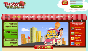 Tasty Bingo website homepage