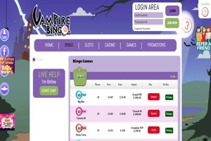 vampire bingo homepage screenshot