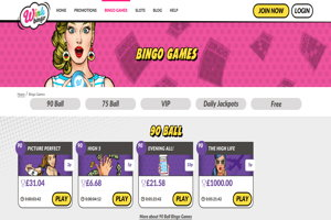 wink bingo website screenshot