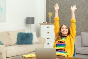 Woman Celebrates Online Bingo Win