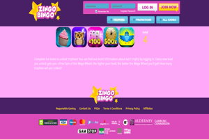 zingo bingo homepage screenshot
